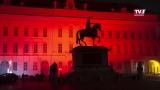 Orange Gebäude als Zeichen der Solidarität