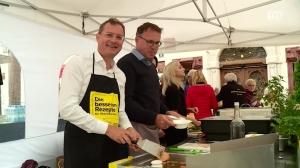 ÖVP Ried mit Wahlteam am Wochenmarkt